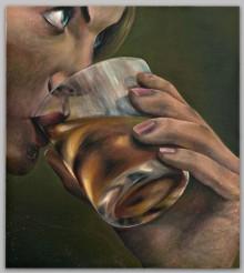 A Lady Taking A Drink